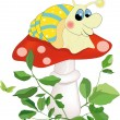 Snail sitting on a mushroom - Stock Vector