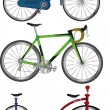 Stock Vector: Complete set bicycles