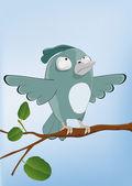 Bird malicious sparrow — Stock Vector