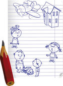 Drawn children and a pencil — Stock Vector