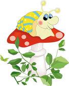 Snail sitting on a mushroom — Stock Vector