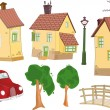 Stock Vector: Set of small houses