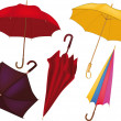 Stock Vector: Complete set of umbrellas