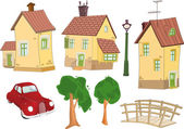 Set of small houses — Stock Vector