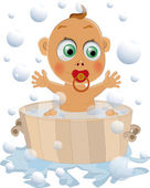 The child likes to wash — Stock Vector