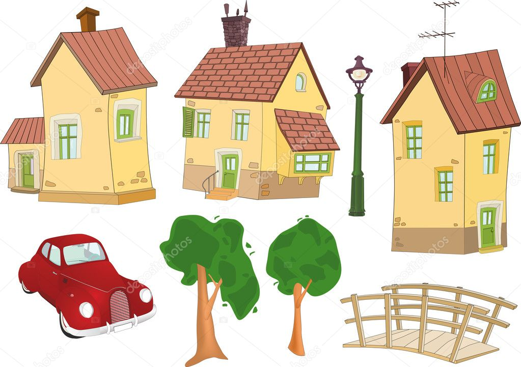 Set of small houses trees the car and the bridge — Stock Vector #1982493