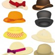 Complete set of hats, headdresses — Stock Vector