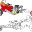 Top Fuel auto racing — Imagen vectorial