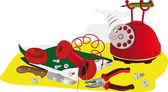 Teléfono rojo — Vector de stock