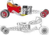 Bovenste brandstof auto racing — Stockvector