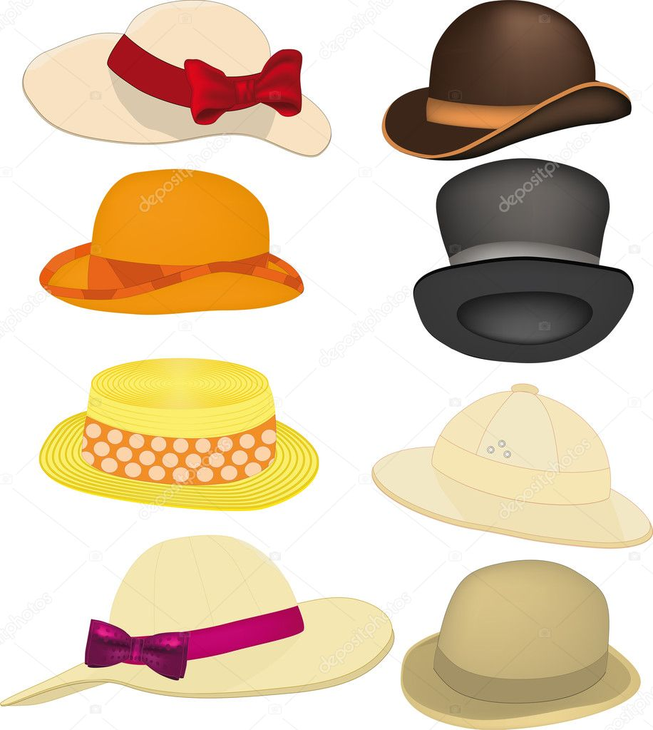Complete set of hats, headdresses clothing accessory  Stock Vector #2284230
