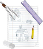 Architectural sketch of the house — Stock Vector