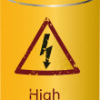 Yellow tin with a high voltage drink - Stockvektor