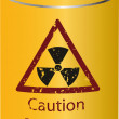 Yellow tin with a radioactive waste - Stock Vector