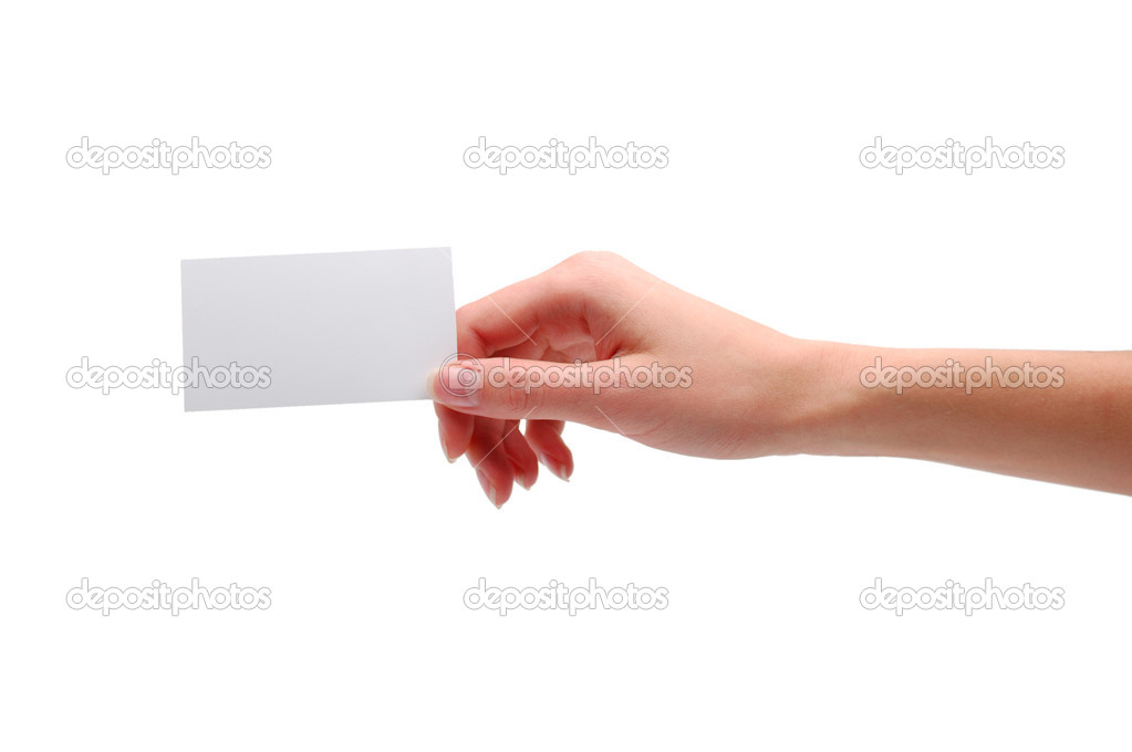 Hand holding blank visiting card — Stock Photo #1136891