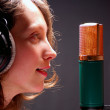 Singer at audio recording studio — Stock Photo
