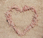 Heart of sand on the beach — Stock Photo