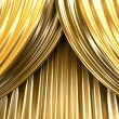 Gold theater curtain - Stock Photo