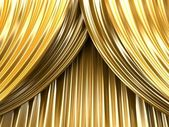 Gold theater curtain — Stock Photo