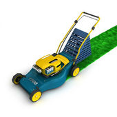 Dark blue and yellow lawnmower — Stock Photo