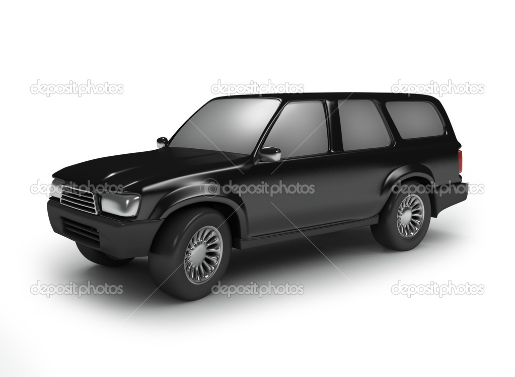 Black off road car isolated on white — Stock Photo #1083547