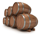 Wine barrels rack — Stock Photo