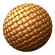 Gold fabric textured sphere — Stock Photo