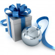 White present box with blue ribbon - Stock Photo