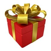 Present red box with gold ribbon — Stock Photo