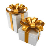 Two boxes with a gold ribbon — Stock Photo