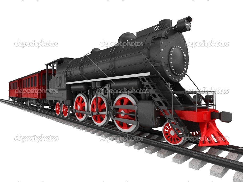 Steam locomotive with red cars isolated on white — Stock Photo #1219025