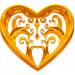 Gold heart jewel — Stock Photo