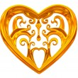 Gold heart jewel - Stock Photo