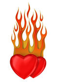 Burning hearts 3d — Stock Photo