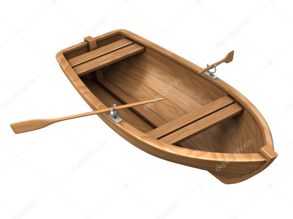 Wood boat isolated on white — Stock Photo #1595970