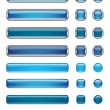 Blue buttons collection - Stock Vector