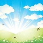 весенний пейзаж — Cтоковый вектор #1097434