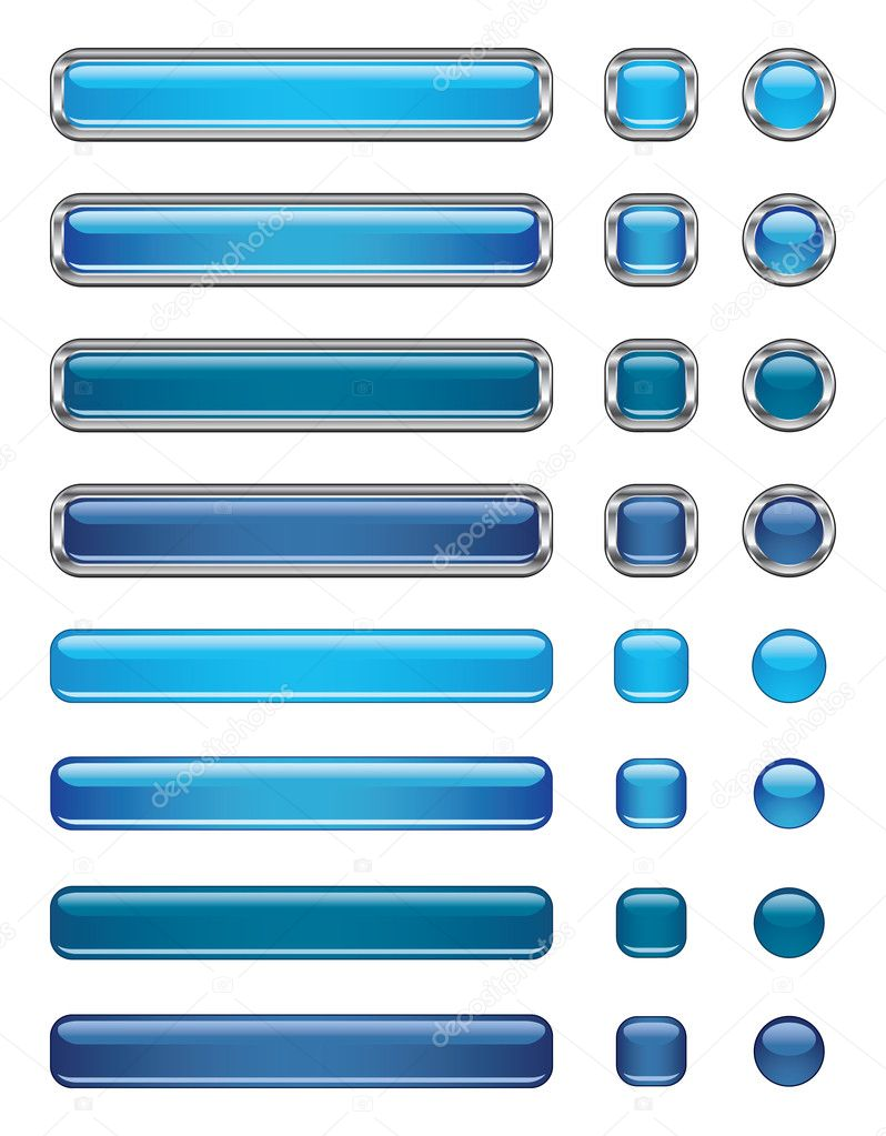 Blue shiny vector buttons  — Stock Vector #1097416