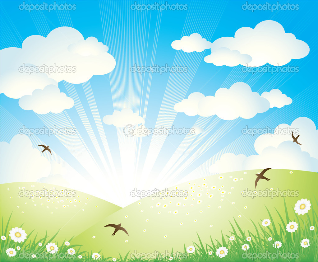 Vector illustration of an idyllic spring landscape with birds, flowers, clouds and rising sun. — Stock Vector #1097434