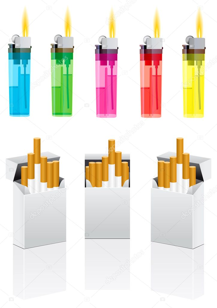 Vector cigarettes and cigarette lighter on white — Imagen vectorial #1045039