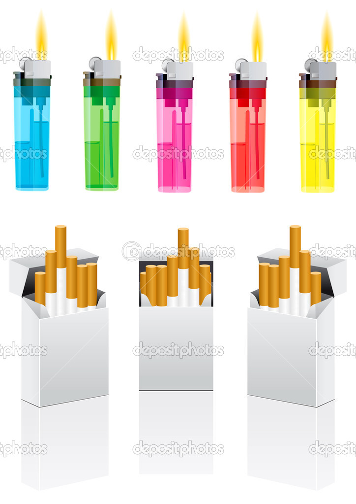 Vector cigarettes and cigarette lighter on white — Векторная иллюстрация #1045039