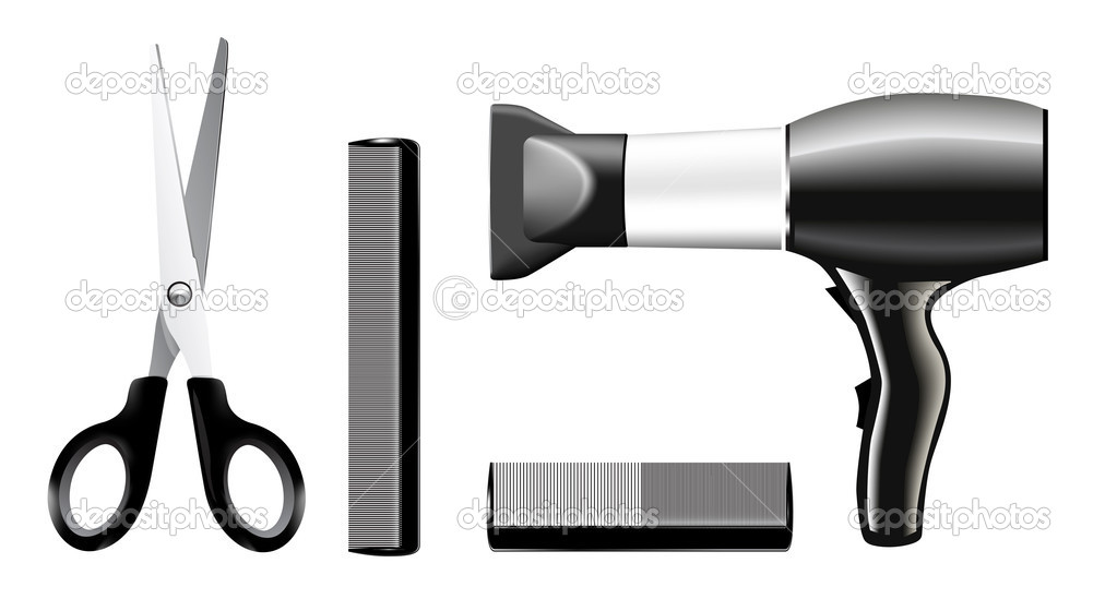 Vecrtor set of combs and scissors, hairstyle accessories. No transparency and effects. — Stock Vector #1252893