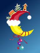 Christmas & New-Year's moon — Stock Vector