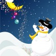 Christmas design with snowman — Stock Vector