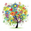Floral tree beautiful - Imagens vectoriais em stock