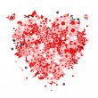 Royalty-Free Stock 矢量图片: Floral heart shape for your design