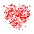 Floral heart shape for your design — Stock Vector