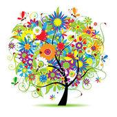 çiçekli ağaç güzel — Stok Vektör