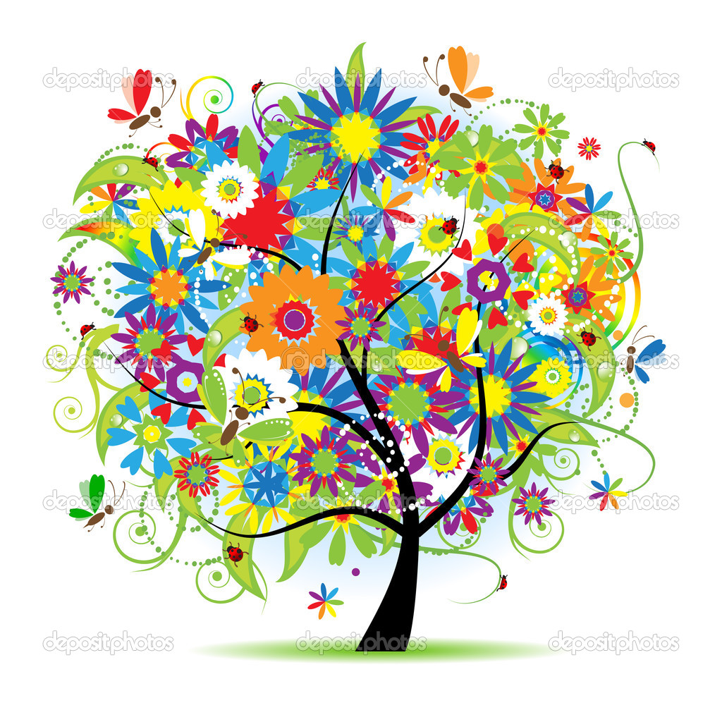Floral tree beautiful — Imagen vectorial #1045095