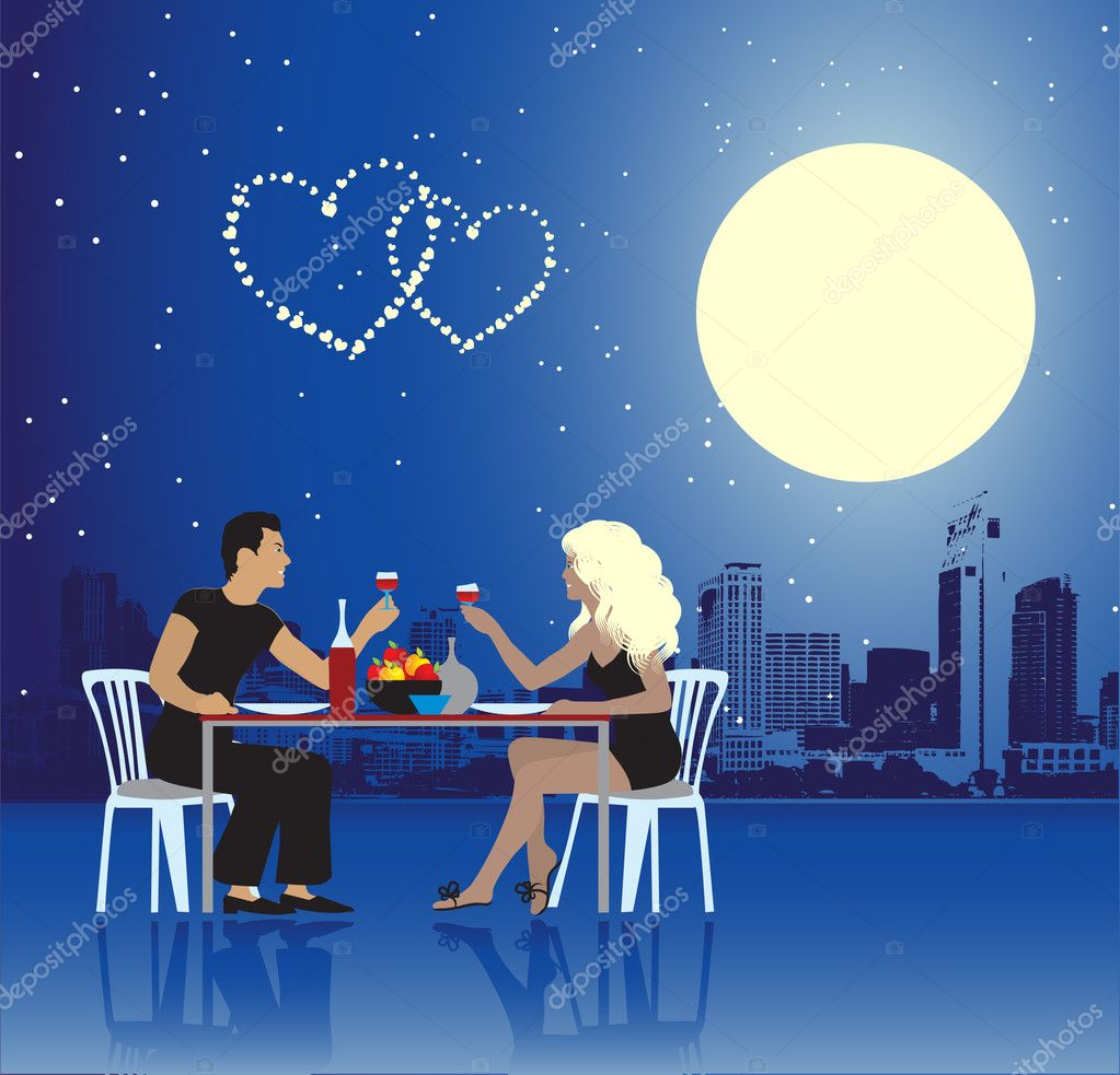 Valentine day, urban scene, couple  Grafika wektorowa #1045131